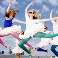 Six ballerinas in petticoats jumping